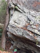 Rock Climbing Photo: The start is under the roof matched on the long ju...