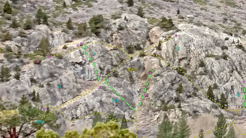 South side of Silver Lake area<br> . yellow dot line = access route<br> . green dash line = climbing route<br> . x = bolt anchor<br> . o = natural anchor set back from edge of cliff<br> . C = Lower Slab Direct route<br> . D = Valse Viennoise route<br> . F = Robinson Ridge route<br> . 0 = Bachar sector<br> . 1 = Croft sector<br> . 2 = Robinson sector<br> . 3 = Talsky sector