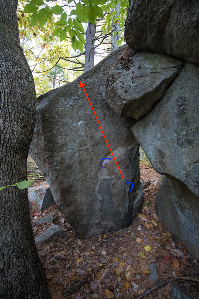 Starting holds and general line of travel for 'Head Butt'.