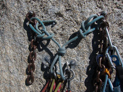"Rock Climbing Photo: Two 1/2"" x 4"" bolts backing up two 3/8&q..."