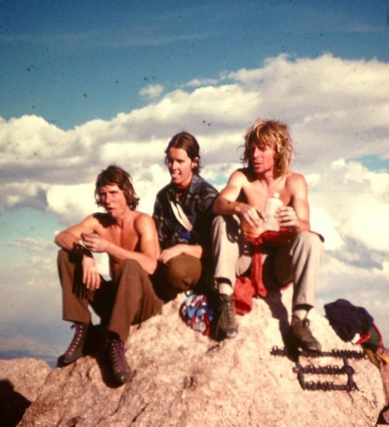 Charlie Fowler, Kathy (?), and Jim Tangen-Foster (L-to-R) after summiting D7 in 1976. It was Fowler's 1st time on the Diamond. In 1978, he free soloed the Casual Route.