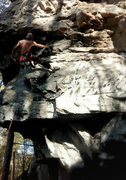 Rock Climbing Photo: Enjoying a nice shakeout after the bouldery start.