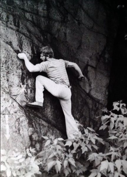 Jim Tangen-Foster on Whope Wall in 1978, as it was originally called because of existing graffiti.