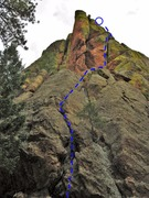 Rock Climbing Photo: Tunnel Vision goes up the low angle crack and corn...