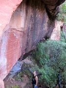 Rock Climbing Photo: Jeff scoping it