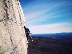 Rock Climbing Photo: Joel Ryan goofing at the end of the traverse befor...
