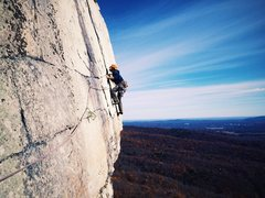 Rock Climbing Photo: Joel Ryan moving up the flake. Nov. 2016.