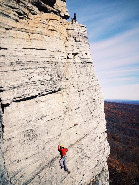 A party coming up the first pitch to the GT Ledge. Nov. 2016.