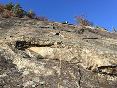 Rock Climbing Photo: Looking up at P3 from the top of P2.