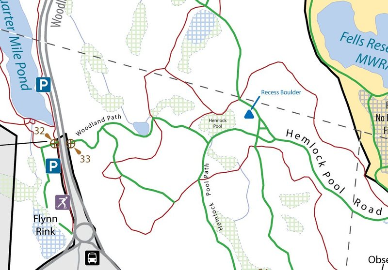 Map showing trails to get to the Recess Boulder.