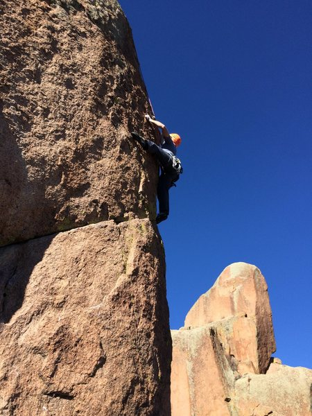 Rock Climbing Photo: Slava pulling the crux on Class Act. The first few...