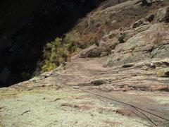 Rock Climbing Photo: Joseffa following 2 linked pitches (68 meters) of ...