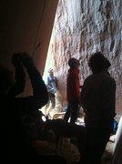 Rock Climbing Photo: Team orange looks on...