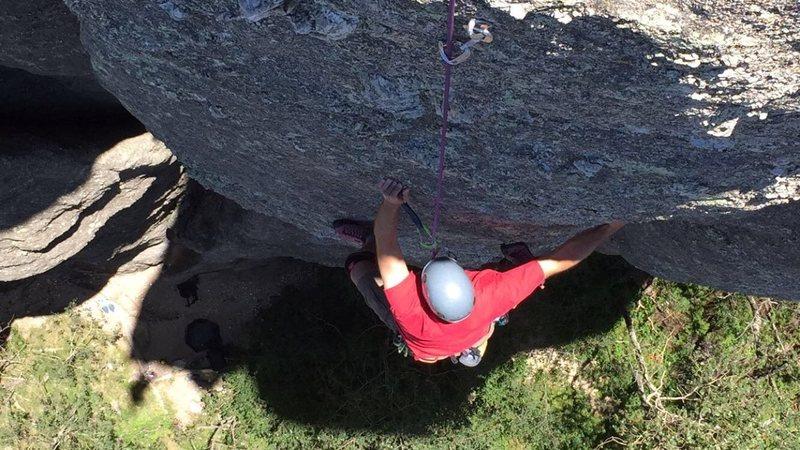 Rock Climbing Photo: Scott working up towards the finish.