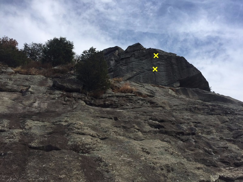 Second Overhang from the LSD anchors.  New Standards on the right (bolts in yellow). Stannard's Crack to the left.