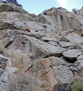 Rock Climbing Photo: sector 8 Cosmiques low far left x = bolt ? = unkno...