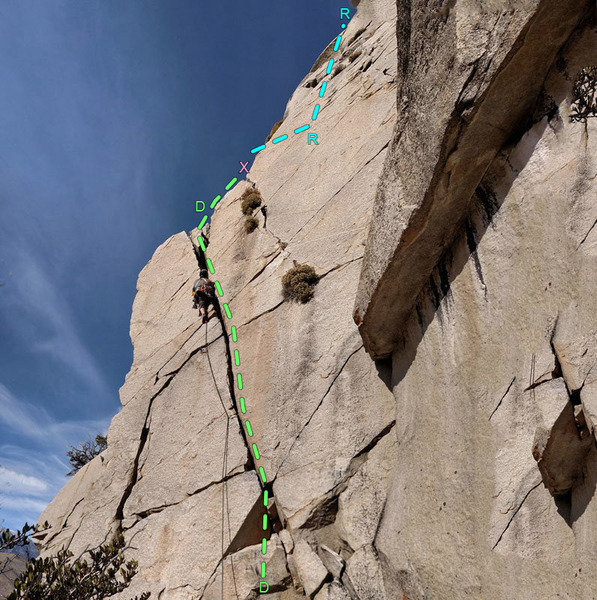 Southeast Roof above Southeast Crack - (sector 9 Chouinard) ...<br> D. Southeast Crack<br> R. Southeast Roof