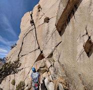 Rock Climbing Photo: Southeast Crack -- Corey leading with Michaei bela...