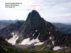 Rock Climbing Photo: Our route on Peak C from the mid-1990s follows (ro...