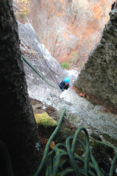 looking out from the comfy belay nook