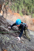Rock Climbing Photo: Torie following with a smile what is the spookiest...