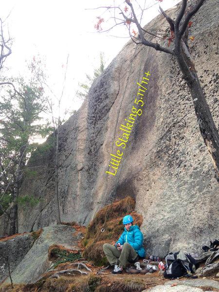 torie sitting under the climb...