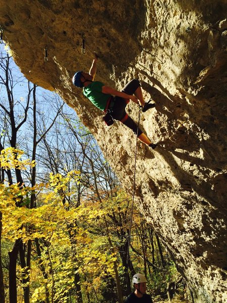 Projecting Gravity Amp (5.12a) on a classic Iowa fall weekend.