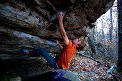 Rock Climbing Photo: Jon Hamilton on the Unnamed Roof Problem V4.