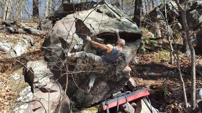 Getting right hand to solid hold on prow.