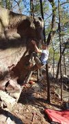 Rock Climbing Photo: Getting into it. Pads conveniently doing absolutel...