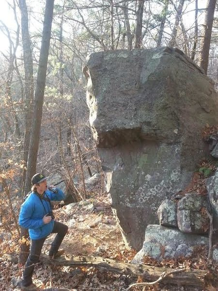 Cool boulder. Right arete was a bit above my pay grade today. Needs a little scrubbing