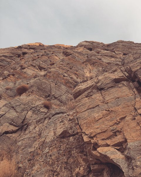 Looking up at Lion Paw from the base of the route.