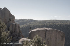 Rock Climbing Photo: Justin setting up the toprope for Scorpio Crack tr...