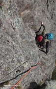 Rock Climbing Photo: Bob follows P2 yesterday