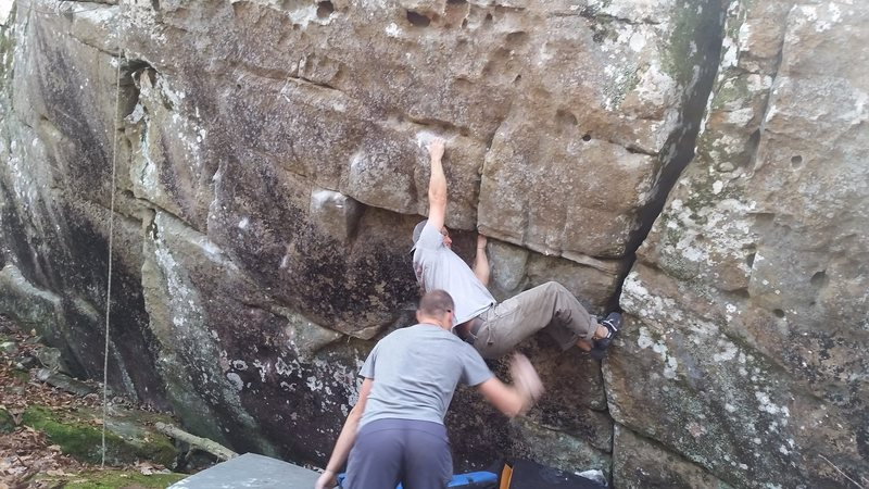 Rock Climbing Photo: Brendan getting close to the big move on The Quarr...