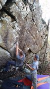 Rock Climbing Photo: Dillon a couple moves past the start of Alabama 2
