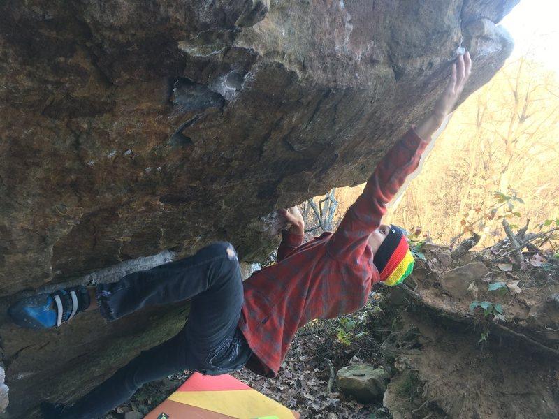 Rock Climbing Photo: Super fun dead point reach.