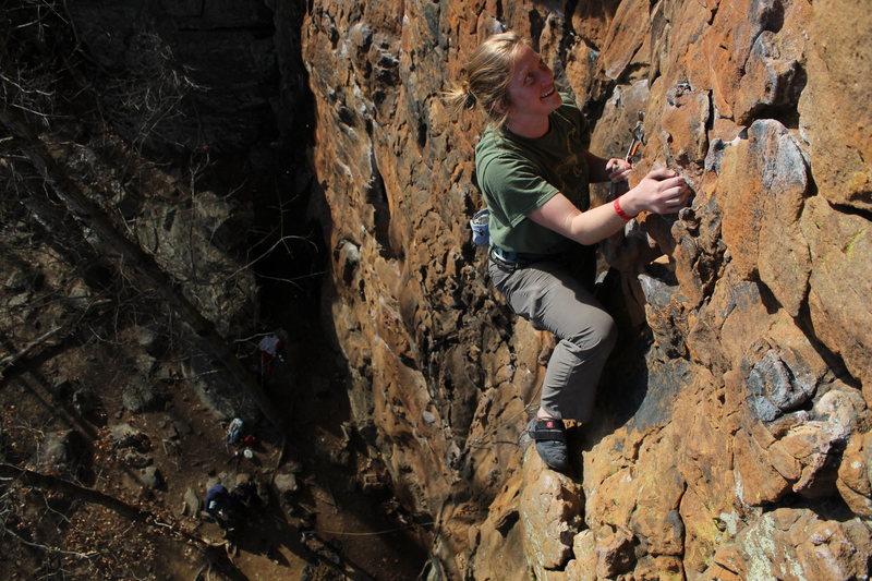 Rock Climbing Photo: near the top of Green Goblin