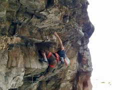 Rock Climbing Photo: My beta required some serious lock-offs to some sw...