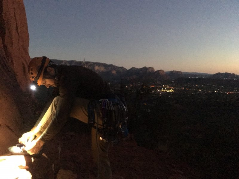 Kyle, lacing up for our super moon night ascent of Dr. Rubo's.