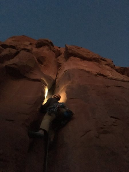 Kyle starting up p1 on our night time ascent of Dr. Rubo's.