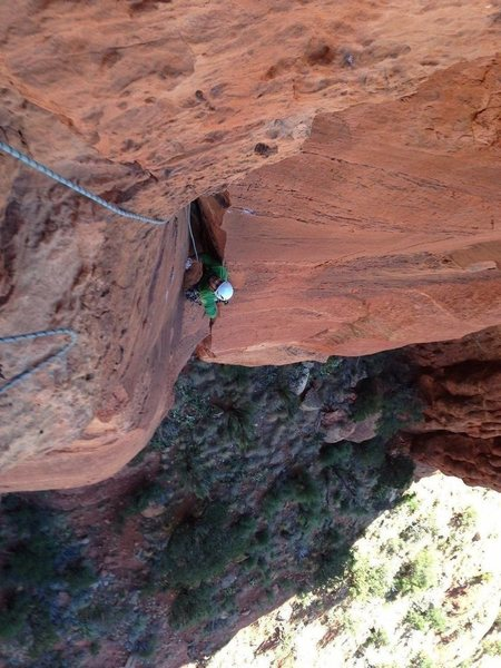 Psyched to be past what I thought was the physical crux of the route!