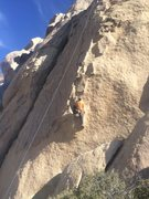 Rock Climbing Photo: Byron at the start. You clip a bolt before making ...