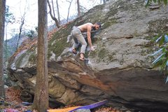 Rock Climbing Photo: Parlier mantling on Marshanti Mantle