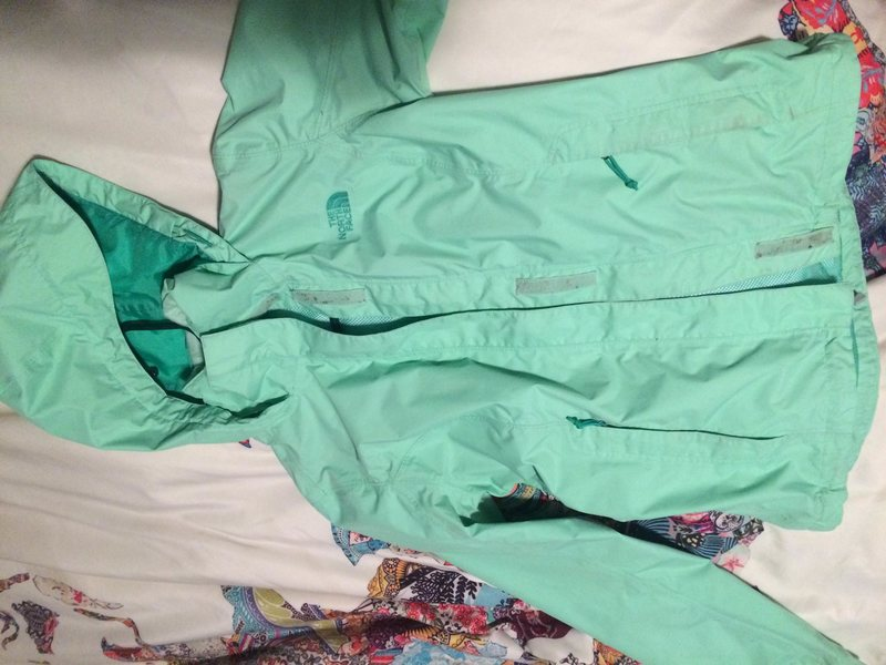 Women XS green rain jacket $30 OBO