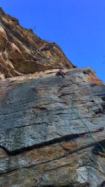 Birdland - super fun climb <br> This is Chris leading the pitch.