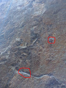 Rock Climbing Photo: Beginning of the route. Red circles denote suggest...