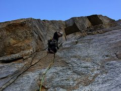 Rock Climbing Photo: Kia leading pitch 3 roof on Central Pillar of Fren...