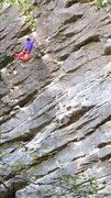 Rock Climbing Photo: Sticking a dyno move on Cell Block Six (5.12c).