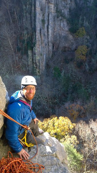 At the belay above Candy Corner.